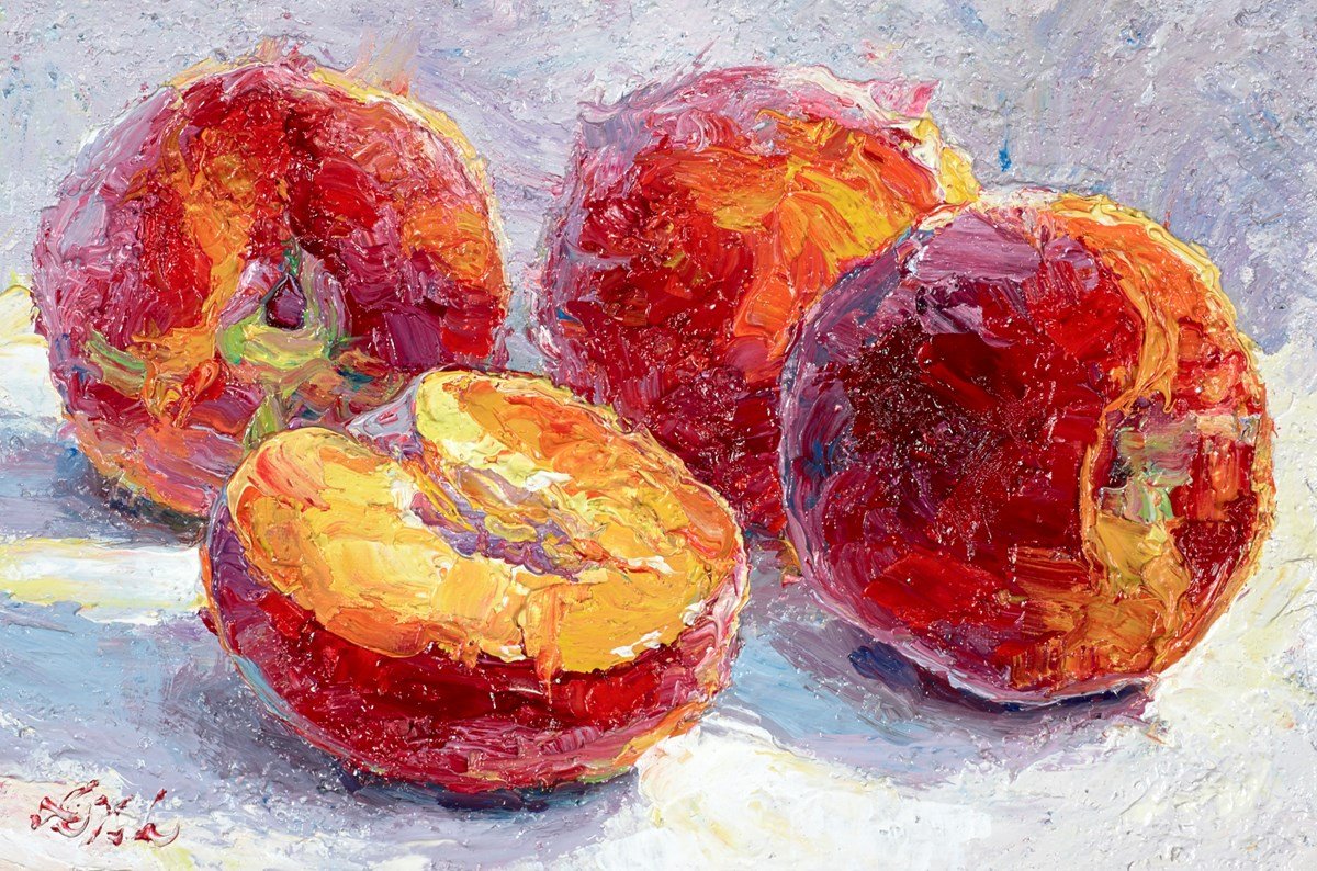 Fresh Peaches II by lana okiro -  sized 9x6 inches. Available from Whitewall Galleries